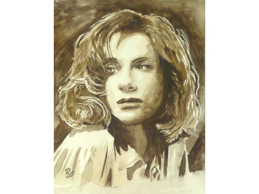 Portrait femme songeuse, peinture aquarelle sépia