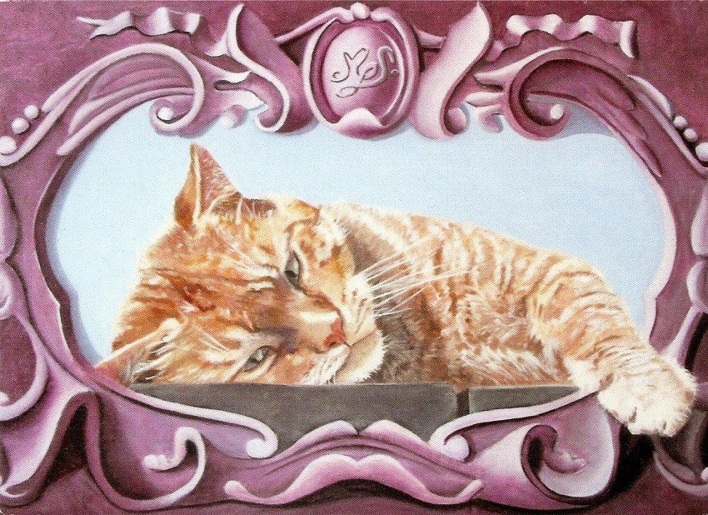 Carte d'art double portrait chat roux tigré