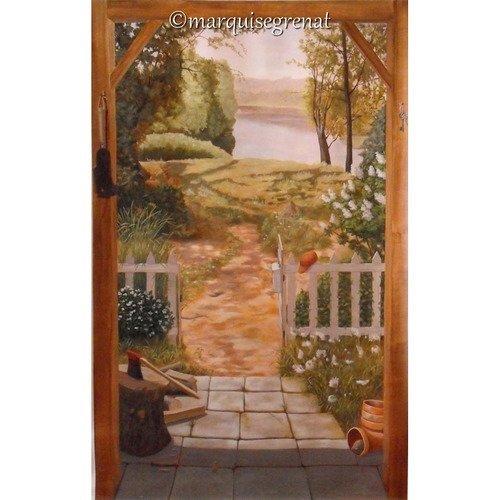 Jardin Sur Nature Decor Mural Peinture Acrylique Sur Toile Grand Format 1 20 X 1 90 M Un Grand Marche