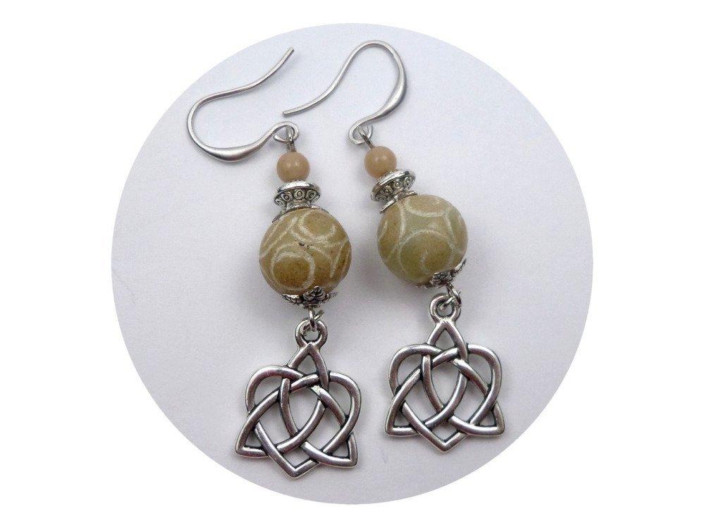Boucles d'oreilles celtes beiges argentées