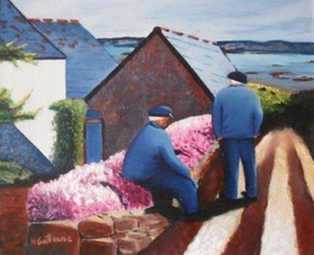 Les Vieux Marins Peinture A L Huile Paysage Breton Un Grand Marche