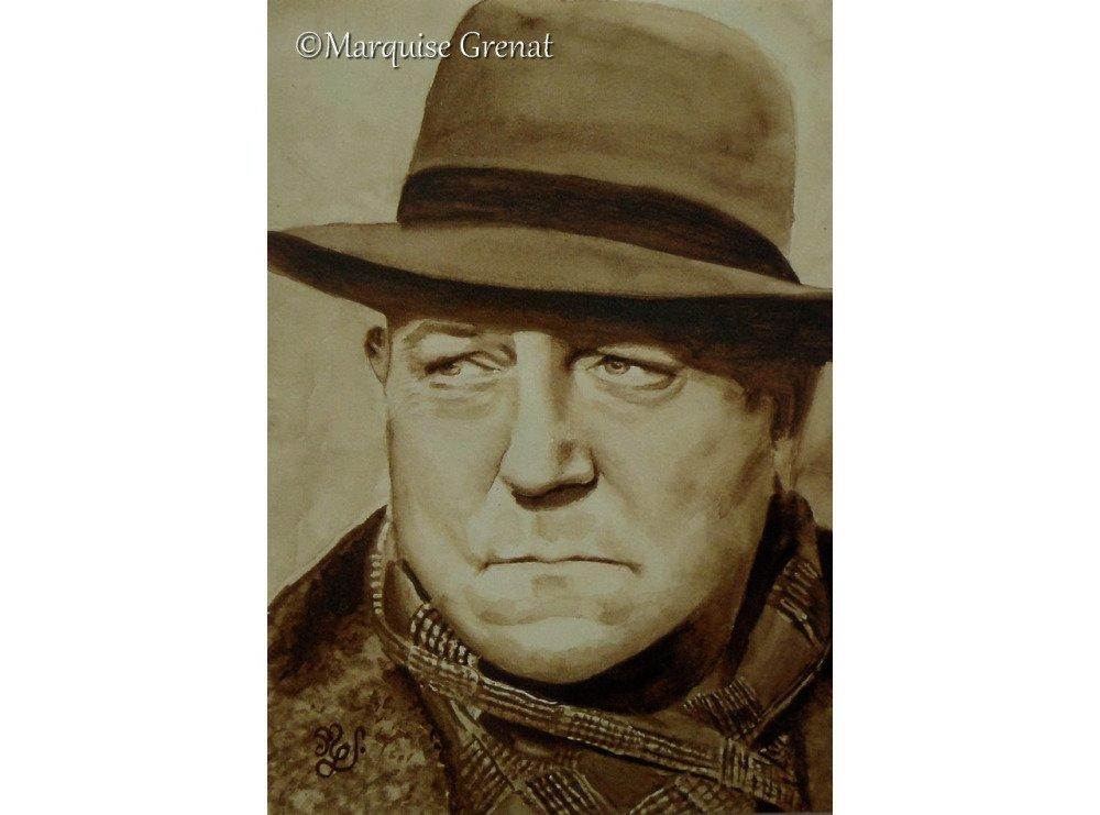 Reproduction de mon portrait de Jean Gabin peinure aquarelle sépia
