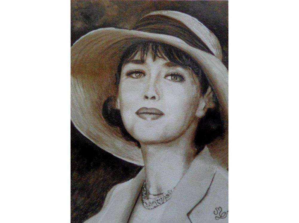 Reproduction de mon portrait d'Isabelle Adjani jeune, peinture aquarelle sépia