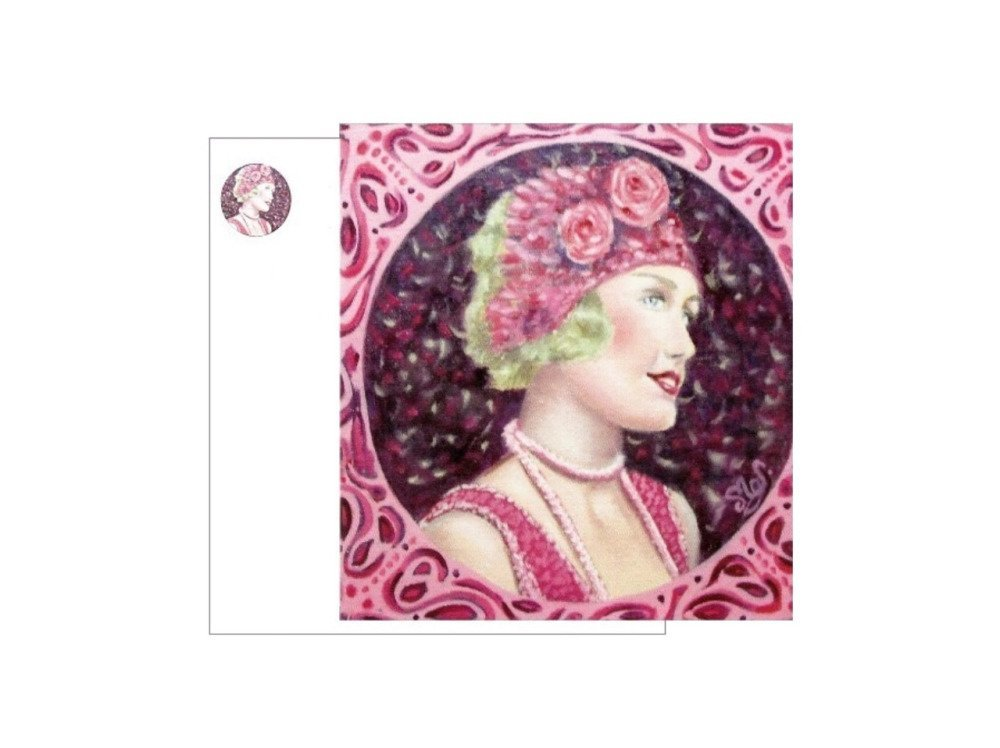 Carte d'art carrée portrait jeune femme rétro rose violet