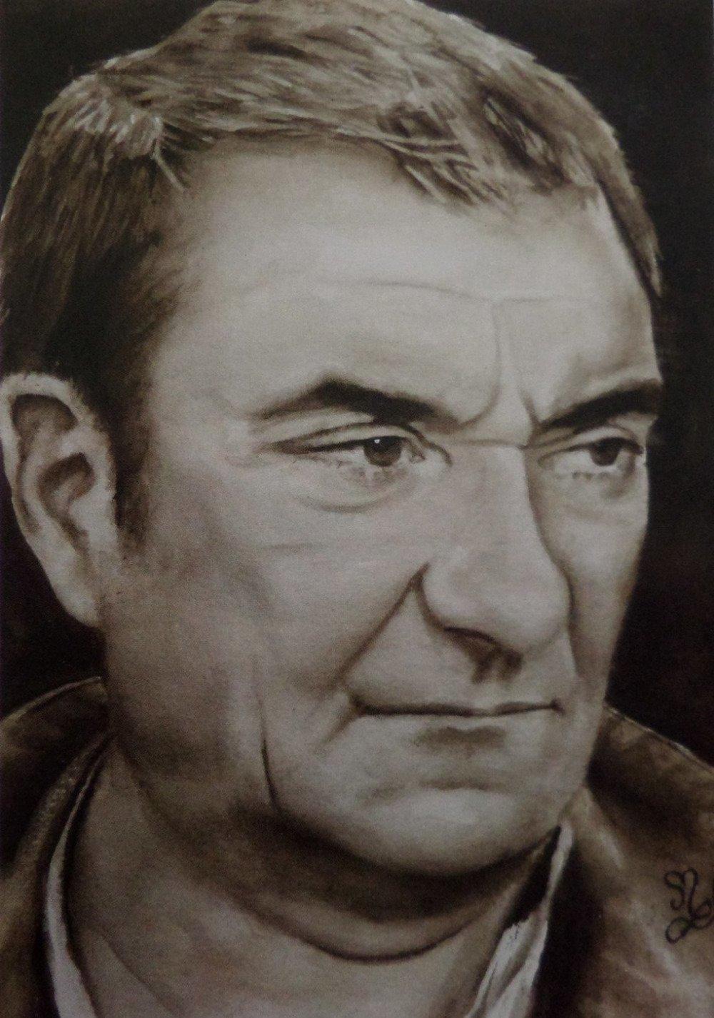 Reproduction de mon portrait de Jean Carmet peinture aquarelle sépia