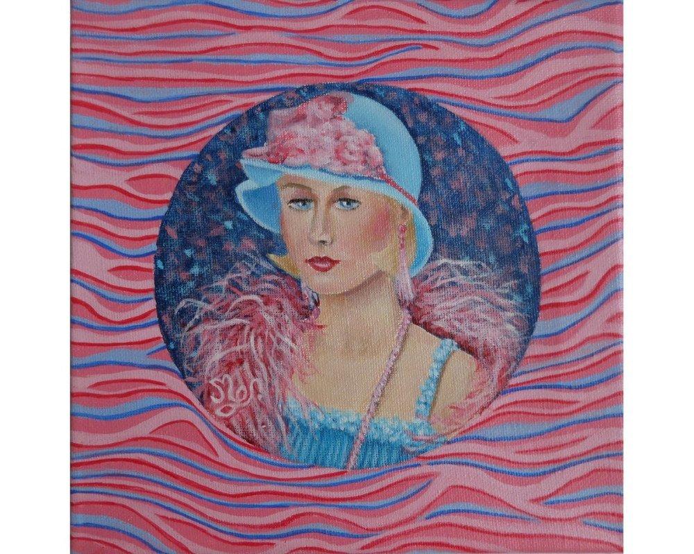 Portrait jeune rétro années folles 3 peinture acrylique