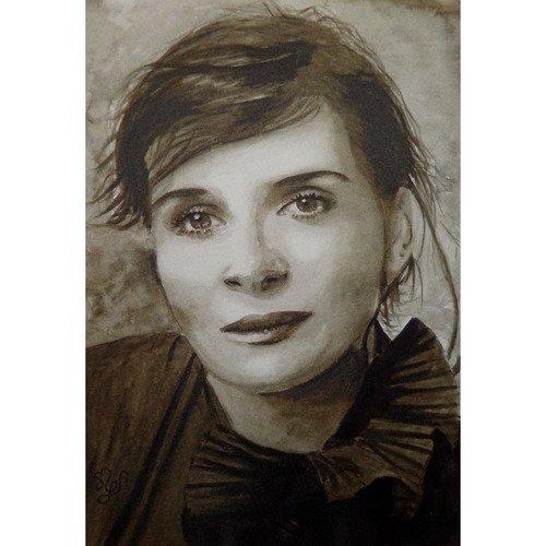 Juliette binoche reproduction portrait peinture aquarelle sépia
