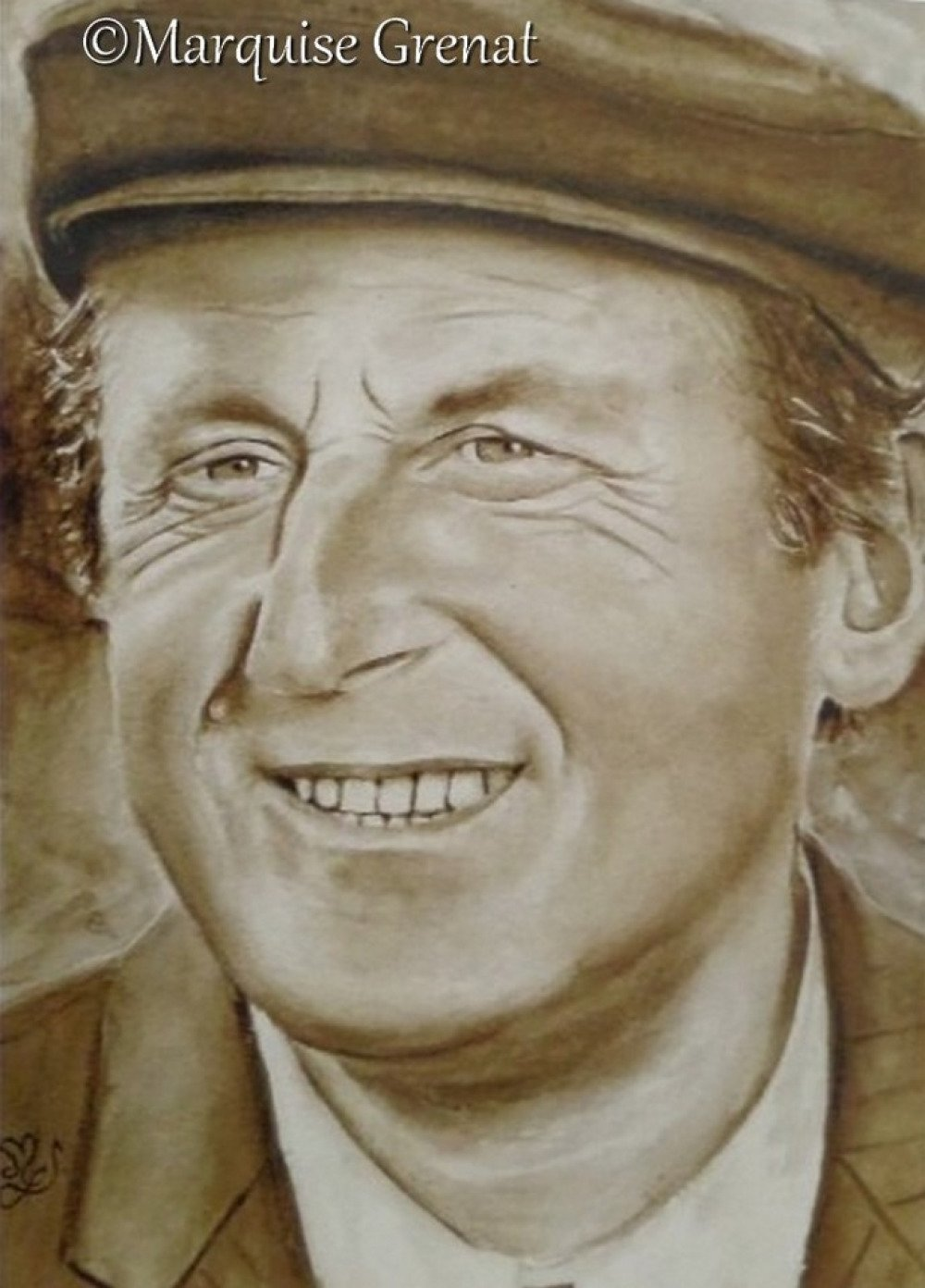 Portrait de Bourvil, reproduction peinture aquarelle sépia
