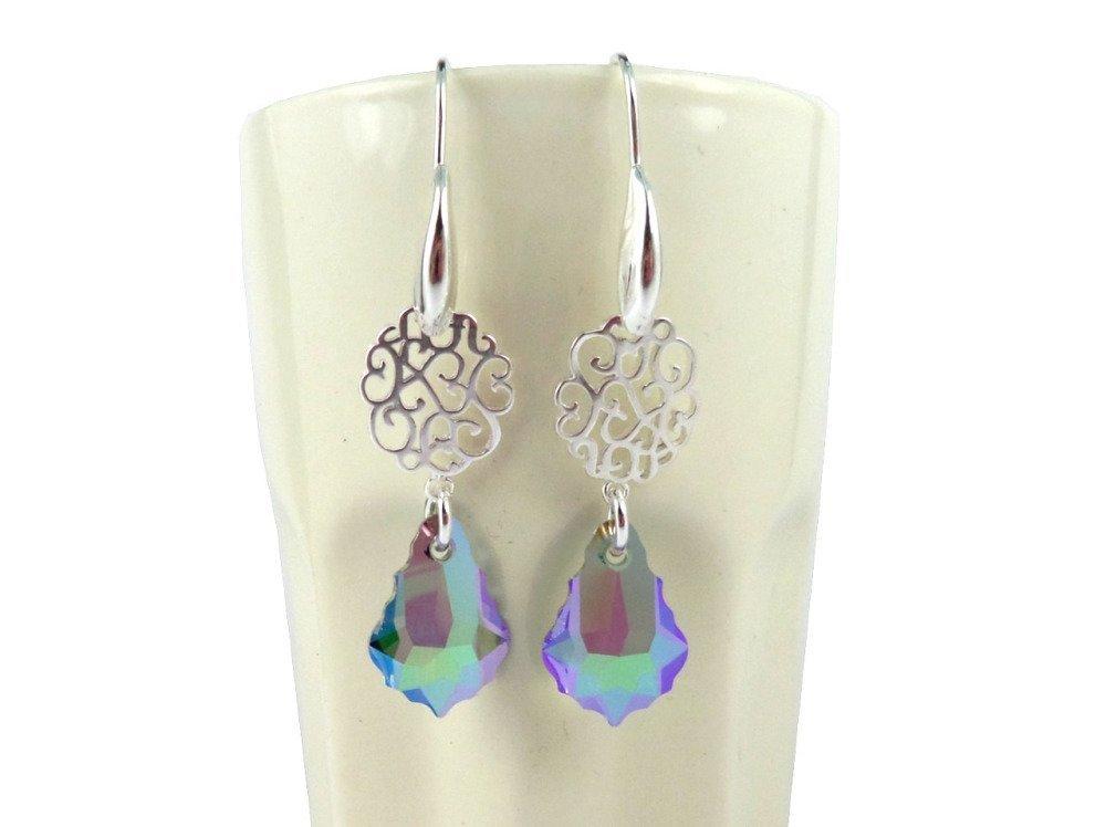 Boucles d'oreilles en argent et cristal swarovski multicolore, baroques