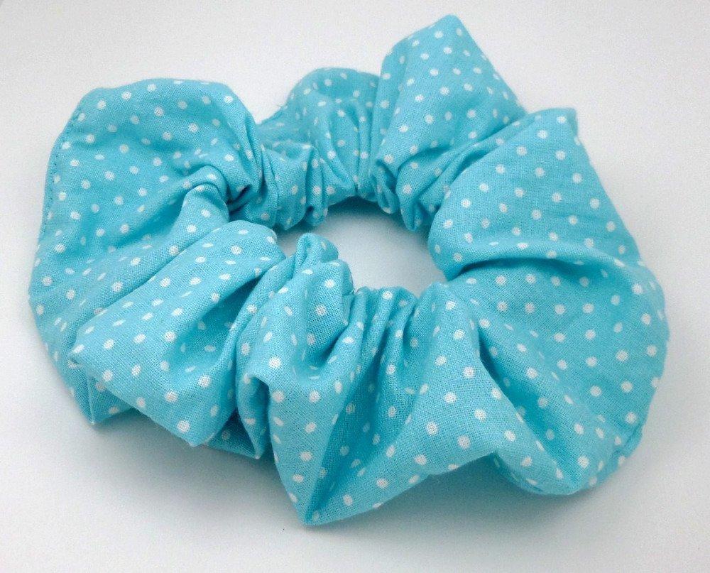 Chouchou pour cheveux bleu turquoise clair pois blancs