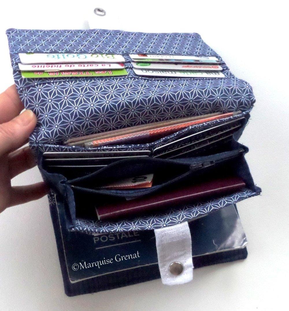 Compagnon portefeuille complet marine blanc argent en cuir végan et lin enduit