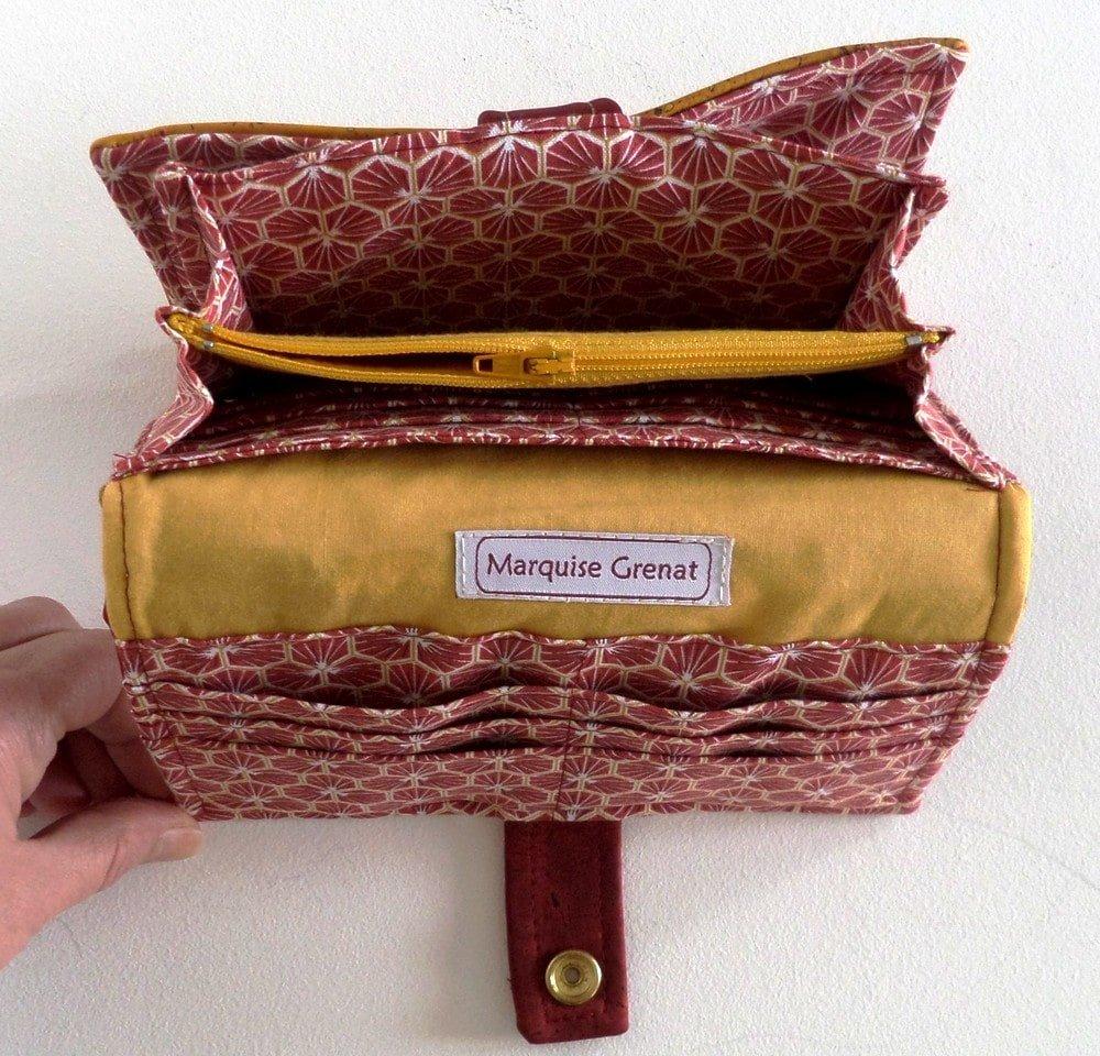 Portefeuille complet bordeaux jaune en liège et coton enduit