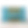 Pochette main épaule bleu turquoise jaune liège jean coton enduit