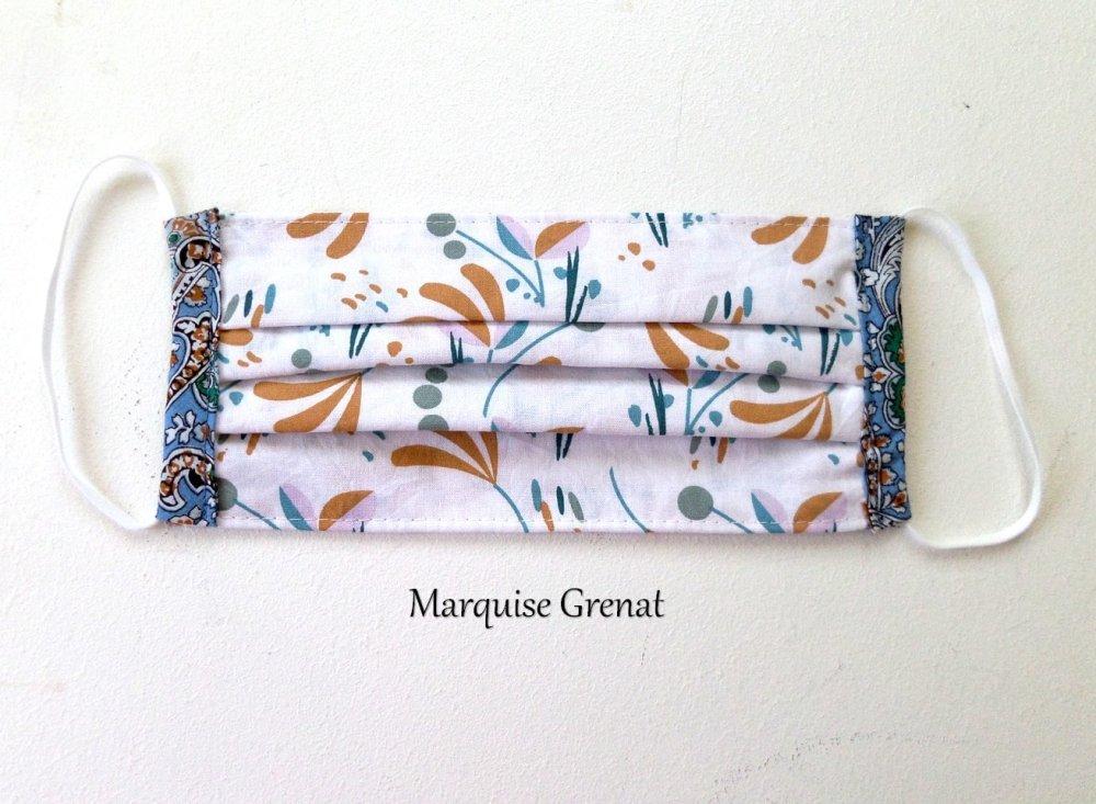 Masque facial adulte lavable coton Oeko-tex floral graphique multicolore fond blanc