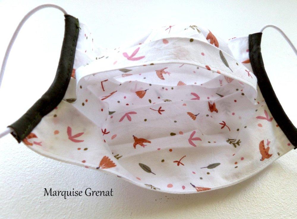 Masque facial adulte en coton Oeko-tex thème nature fond blanc motifs multicolores