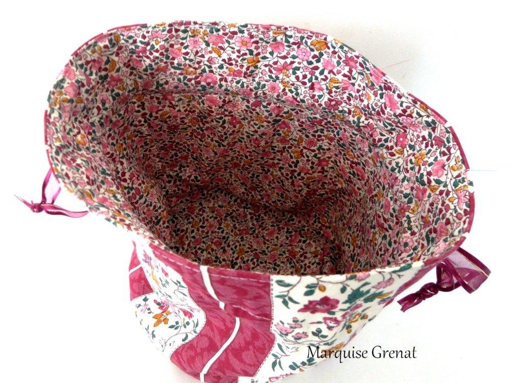 Pochon rond doublé zéro déchet en coton fleuri bordeaux multicolore