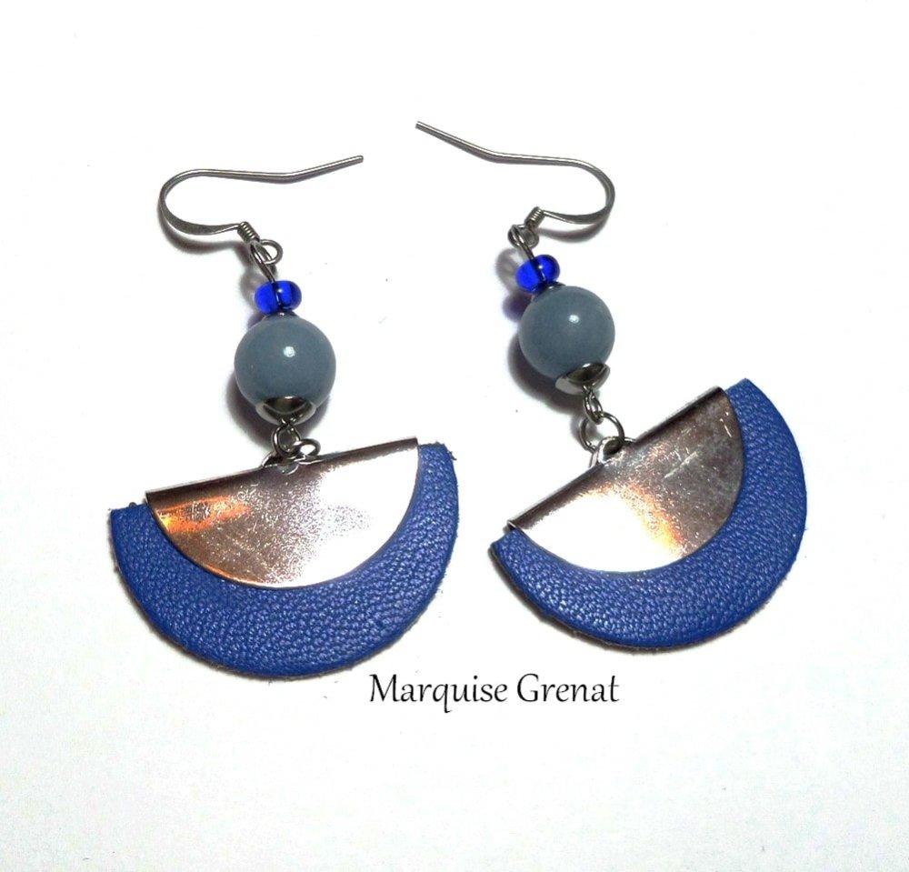 Boucles d'oreilles bleu roi en cuir laiton et angélité pierre de gemme