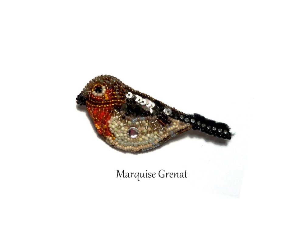 Broche brodée oiseau rouge gorge orange multicolore