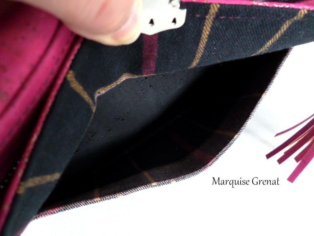 Sac bandoulière ajustable noir fuchsia gris en liège et flanelle à carreaux