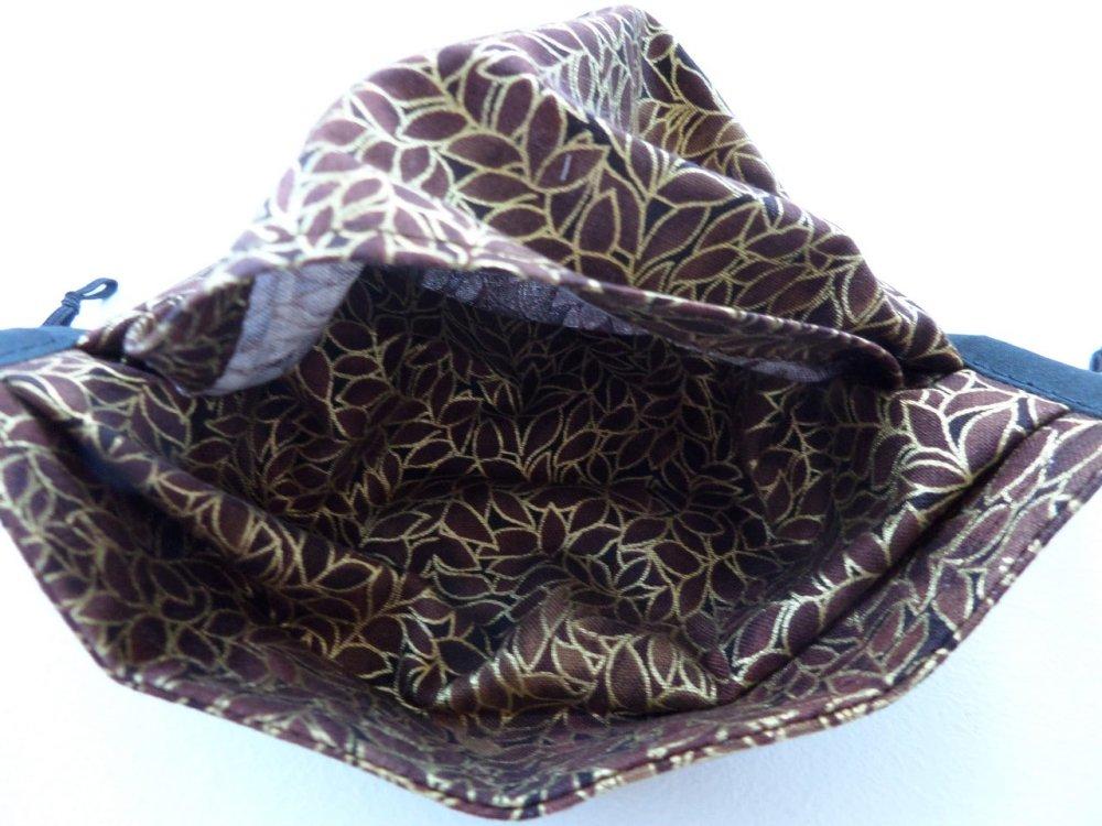 Masque adulte régable avec pince nez coton imprimé feuilles marron et or