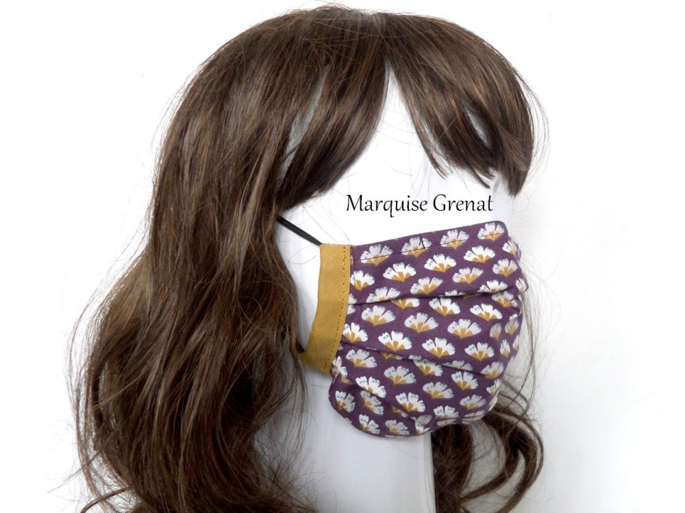 Masque adulte coton Oeko-tex éventails blanc cassé moutarde fond prune