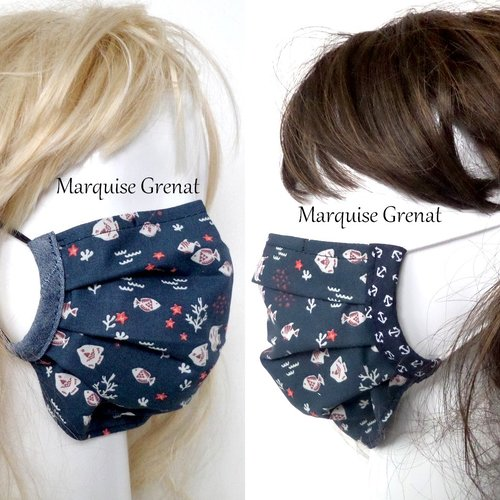 2 masques adulte réglables pince nez en coton oeko tex poissons fond bleu marine
