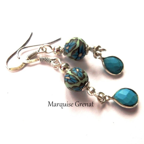 Boucles d'oreilles en argent bohèmes chics vert d'eau gouttes pendantes bleu turquoise