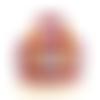 Trousse de toilette pois fleur tissus enduits rouge jaune multicolore