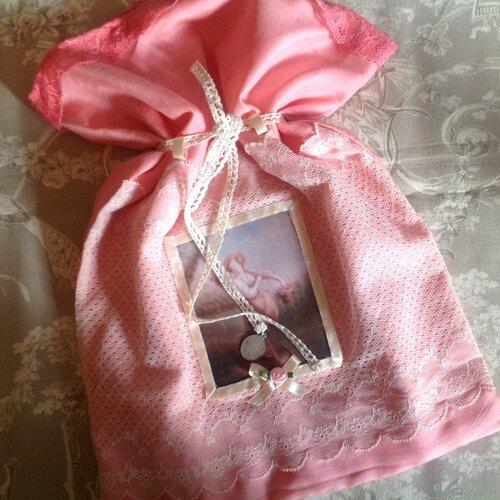 Grande pochette en soie et coton avec transfert d'une jeune fille