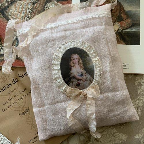 Coussin de senteur lavande en lin rose pâle avec joli transfert