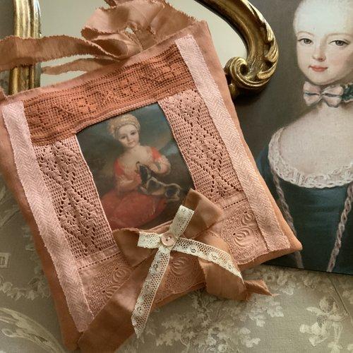 Coussin de senteur lavande en lin et coton ocre, rouille, terracotta avec joli transfert