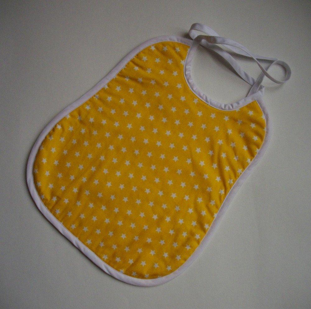 Bavoir coton et éponge jaune étoiles blanches