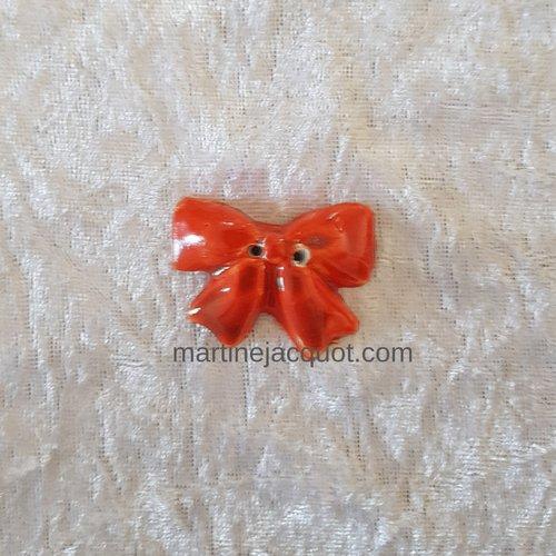 Bouton fantaisie - céramique faience 2 trous - noeud orange foncé - pour  création textile ou toute autre création