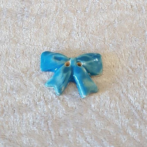 Bouton fantaisie - céramique faience 2 trous - noeud orange bleu - pour  création textile ou toute autre création