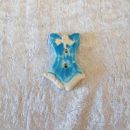 Bouton fantaisie - céramique faience 2 trous - bustier bleu - pour  création textile ou toute autre création