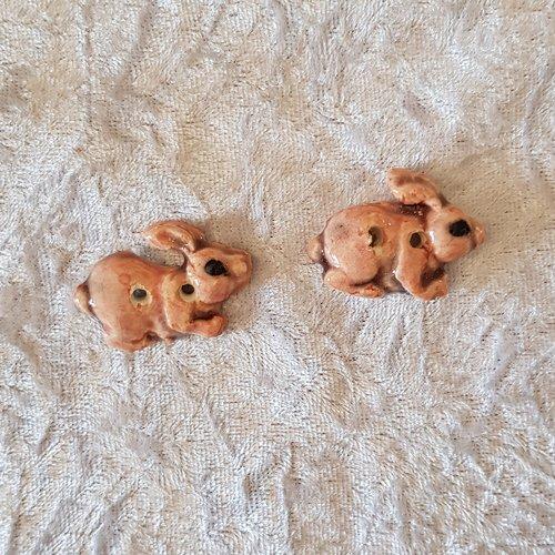 Lot de 2 boutons decoratifs lapins roses ceramique faience