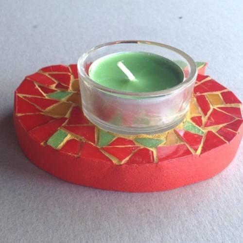 Porte bougie ou photophore forme pomme - centre de table rouge vert jaune -  mosaïque de pâte de verre