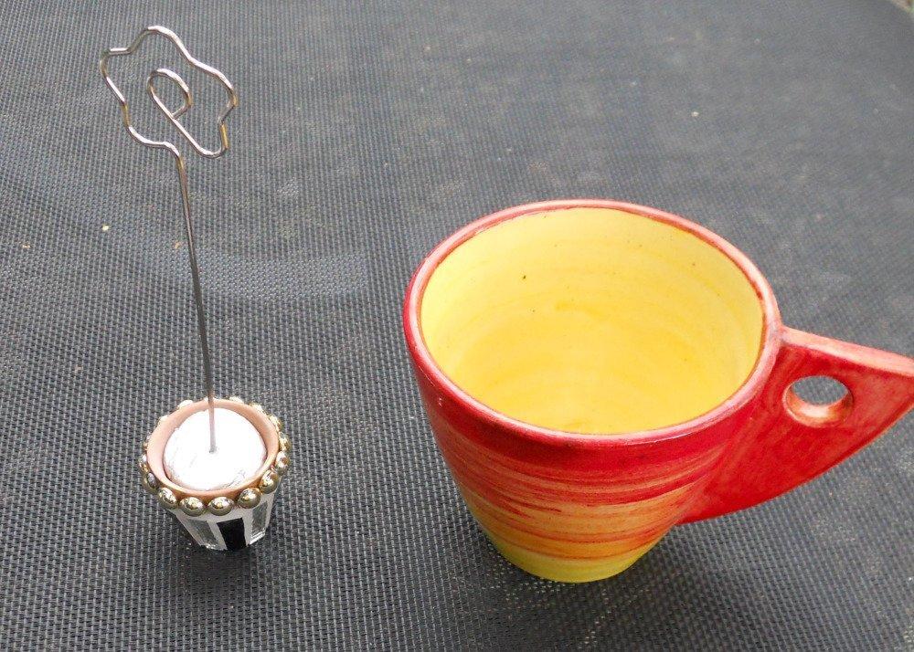 Lot de 6 marque places  pour table de Noel ou porte photo -  Pot  terre cuite recouverte de mosaique - Miroir et perles