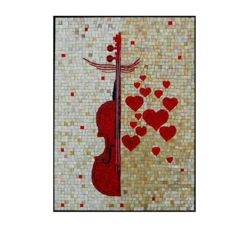 """St valentin - tableau mosaique """"violon coeurs"""", pâtes de verre et émaux vénitiens - support et cadre bois"""