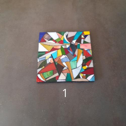 Au choix - dessous de plat mosaique carré verre multicolore - support bois - fait main