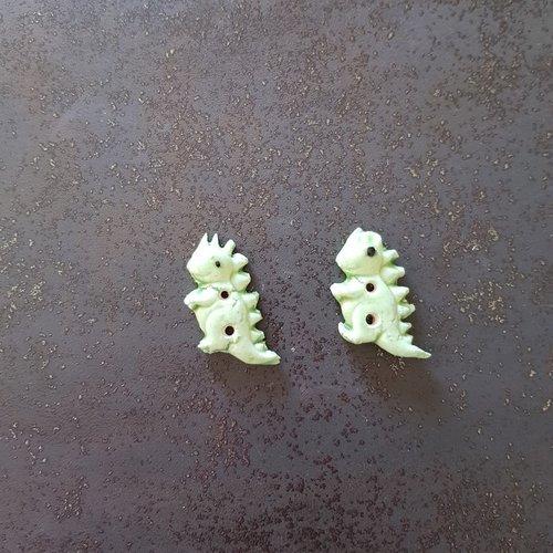 Lot de 2  boutons 2 trous pour couture dinosaures verts clair en  ceramique faience