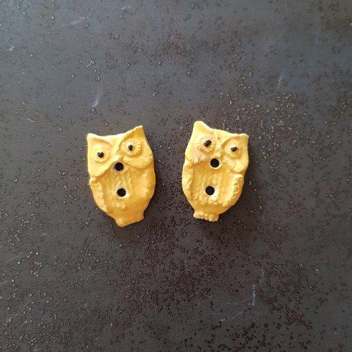 Lot de 2 boutons décoratifs chouettes hiboux jaunes céramique faience - fait main