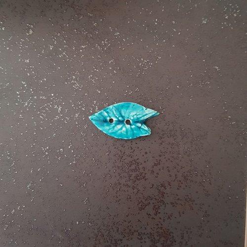 Bouton fantaisie - céramique faience 2 trous - feuille verte turquoise - pour  création textile ou toute autre création  - 6