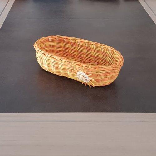 Corbeille à pain allongée  - panière - ovale  en rotin couleur naturel jaune et orange
