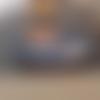 Corbeille à pain allongée  - panière - ovale  en rotin tons bleus