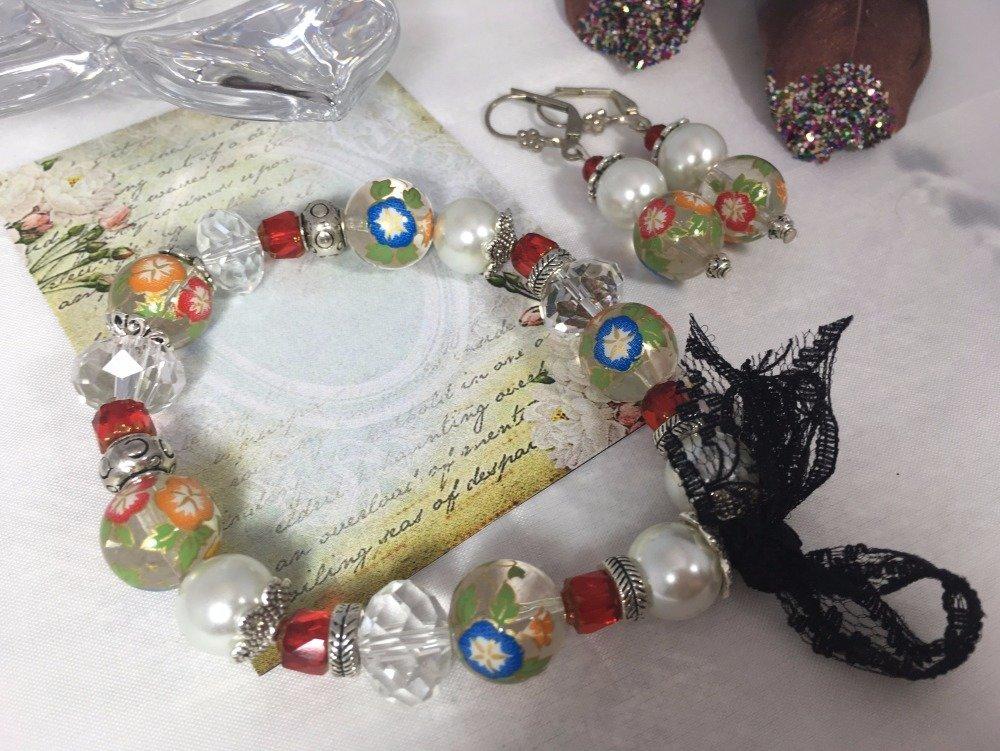 parure perles japonaises et cristal
