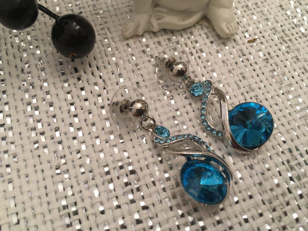 boucles Swarovski turquoise