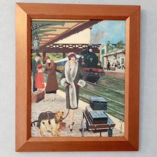 Tableau vintage :gare .gare d'autrefois