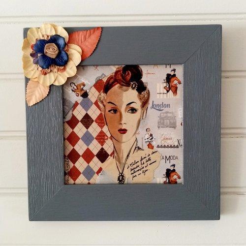 Tableau vintage:femme au turban;décoration murale;cadre