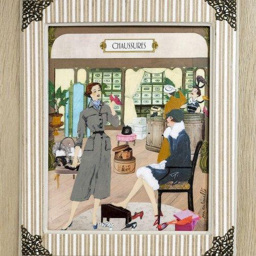 Tableau shabby chic.tableau vintage.decoration murale.magasin de chaussures.